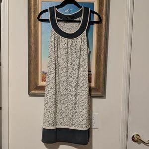 BCBGMAXAZRIA Dress Size Large 12 14 Cream & Blue